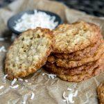 Crispy Coconut Cookies stacked