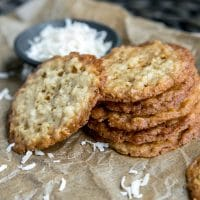 Crispy Coconut Cookies stacked