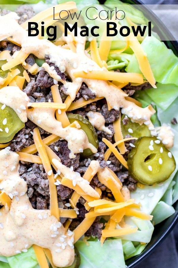 This Low Carb Big Mac Bowl is an easy keto lunch or dinner recipe made with ground beef, special sauce, cheese, pickles, and cabbage. You can make it a low carb salad by using lettuce instead! Make a keto bowl for dinner this week and enjoy all of the flavor of a Big Mac without all of the carbs! #keto #lowcarb #lowcarbrecipes #ketodiet #groundbeef #cabbage #bigmac #bowl