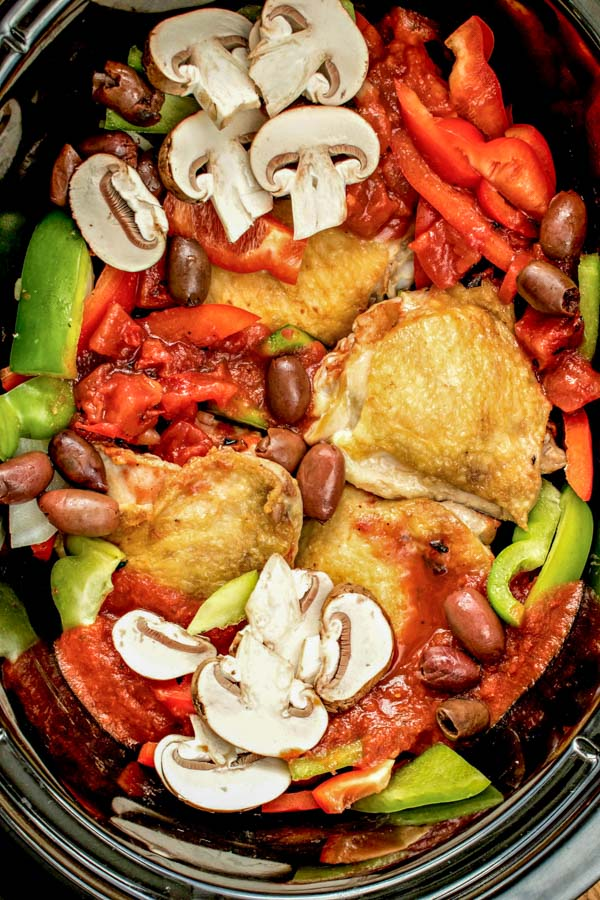 Slow Cooker Chicken Cacciatore made in crock pot