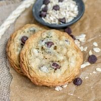 Cowboy Cookies with oats and chocolate chips