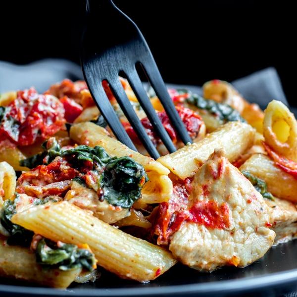 Chicken Florentine Casserole with fork