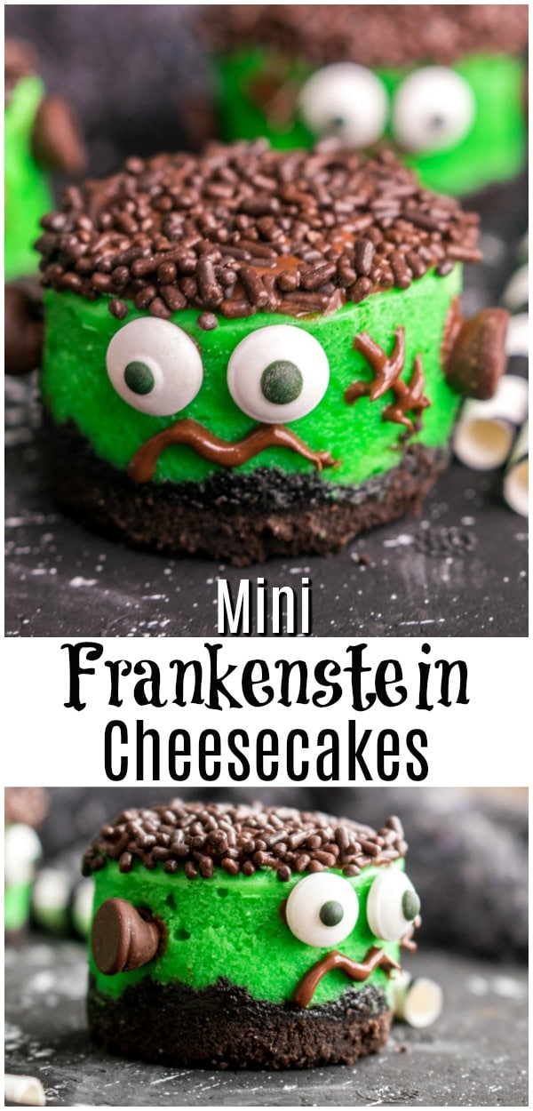 Frankenstein Mini Cheesecakes are an easy Halloween dessert for parties. Kids and adults  will love these cute little cheesecake cupcakes that look like Frankenstein! Creamy cheesecake, OREO crust, and chocolate decorations make this easy cheesecake one of the best Halloween party food ideas you'll ever make! #halloween #halloweenparty #halloweenrecipes #cheesecake #bitesize #homemadeinterest