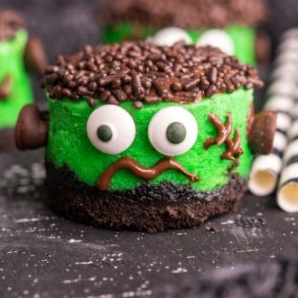 bite size Mini Frankenstein Cheesecakes