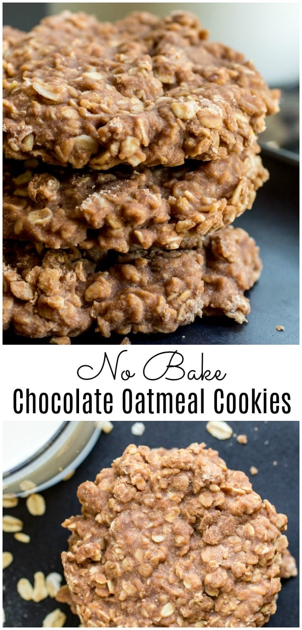 This easy No Bake Chocolate Oatmeal Cookie is an awesome no bake cookie recipe that is gluten-free, has no eggs, and is cooked in the stove top. Chocolate, peanut butter, and a combination of quick cooking oats with old fashioned oats makes this classic cookie recipe a winner. #cookies #nobake #chocolate #peanutbutter #christmascookies #oatmealcookies #homemadeinterest