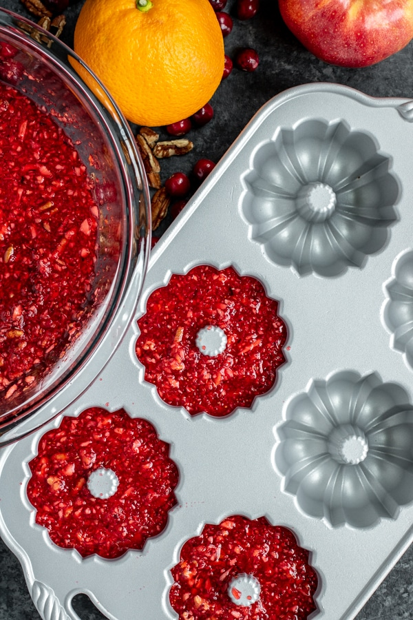 Cranberry Jello Salad in a jello mold