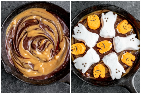 how to make Halloween S'mores Dip in a skillet