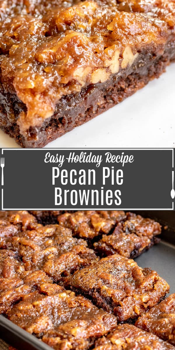 Pinterest image of Pecan Pie Brownies with title text
