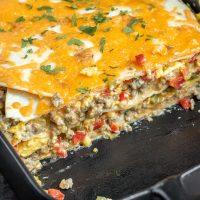 cheesy Breakfast Burrito Casserole layers