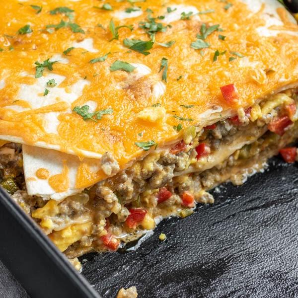 layer of Breakfast Burrito Casserole