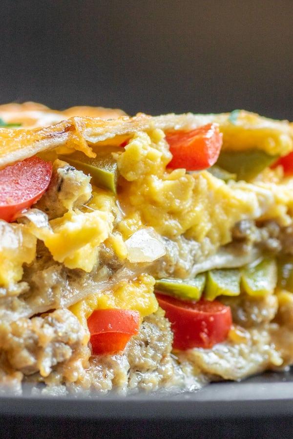Breakfast Burrito Casserole layers