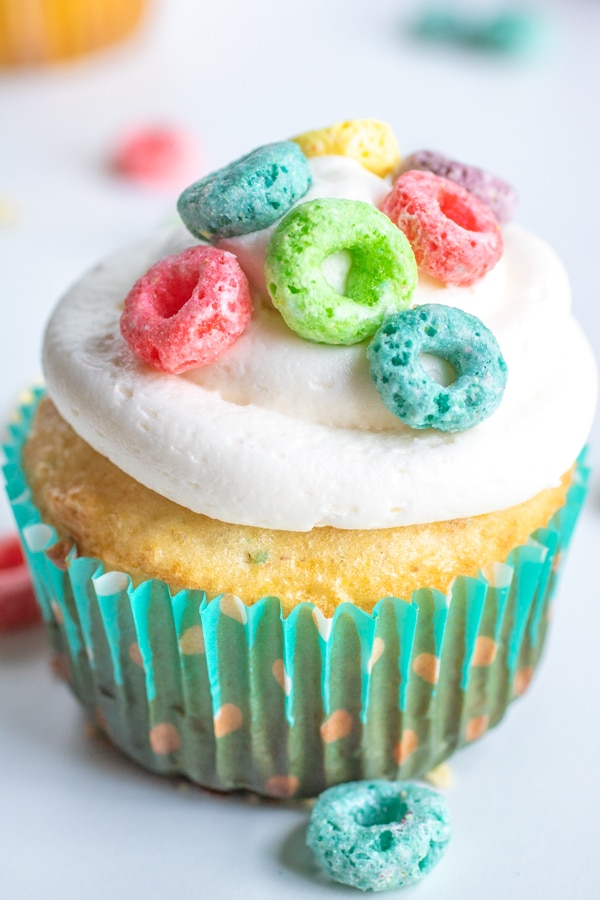 Finished Froot Loops Cupcake in blue wrapper