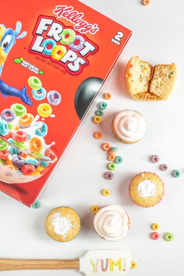 Froot Loops Cupcakes filled with marshmallow cream