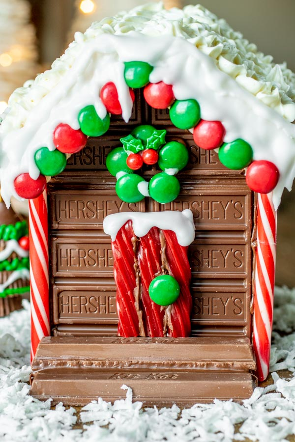 Holiday Candy Cabin door made of twizzlers