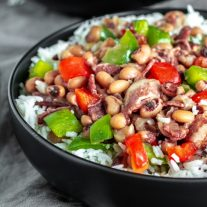 Instant Pot Hoppin' John in a bowl with rice