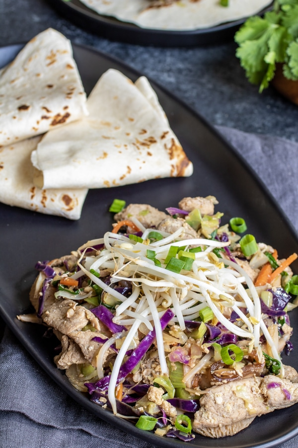 platter of Low Carb Moo Shu Pork