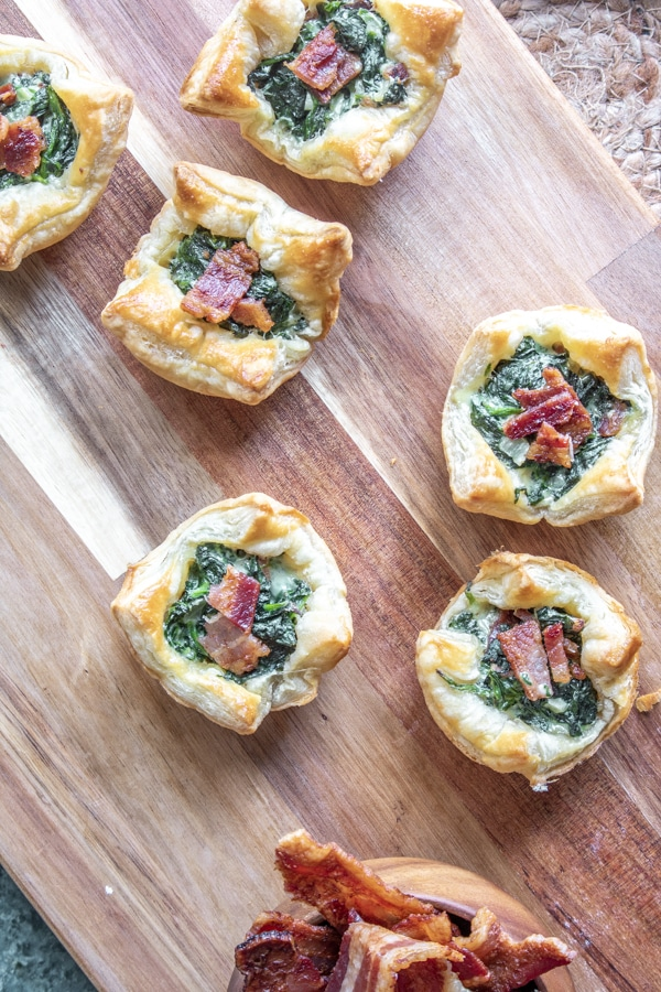 Spinach Puff Pastry on wooden board