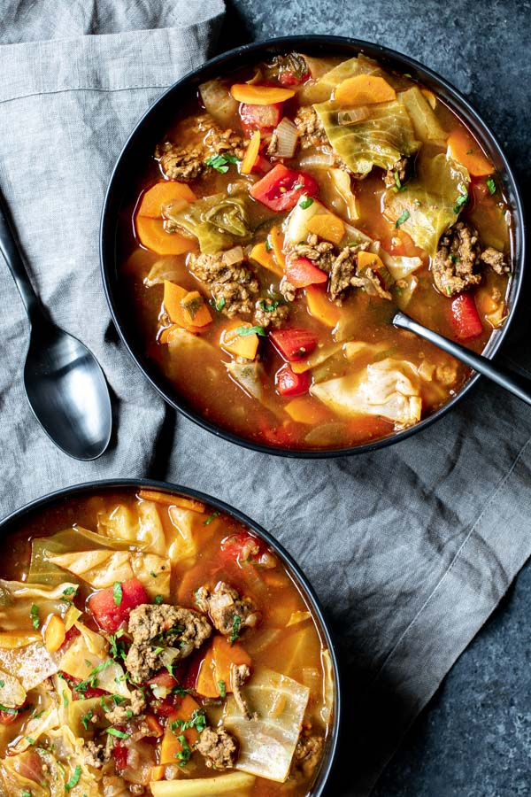 two bowls of Instant Pot Cabbage Roll Soup