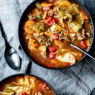 bowls of Instant Pot Cabbage Roll Soup