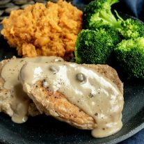 Instant Pot Pork Chops with Mushroom Gravy made with cream of mushroom soup