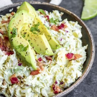This easy Avocado Chicken Salad is a delicious, filling, low carb, keto lunch recipe made withchicken, bacon, onions, celery, and creamy avocado. You can even use leftover rotisserie chicken to make this low carb chicken salad. Store it in the fridge for a make ahead low carb recipe you can eat all week. #chickensalad #lowcarb #lowcarbrecipes #keto #ketorecipes #avocado #homemadeinterest