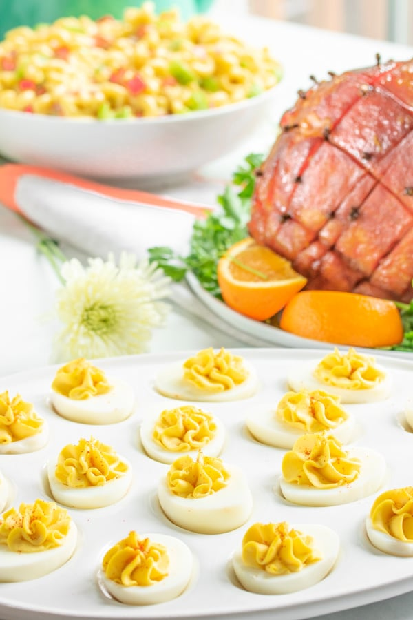 Easter menu with Classic Deviled Eggs