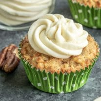 keto carrot cake cupcake with sugar free cream cheese frosting