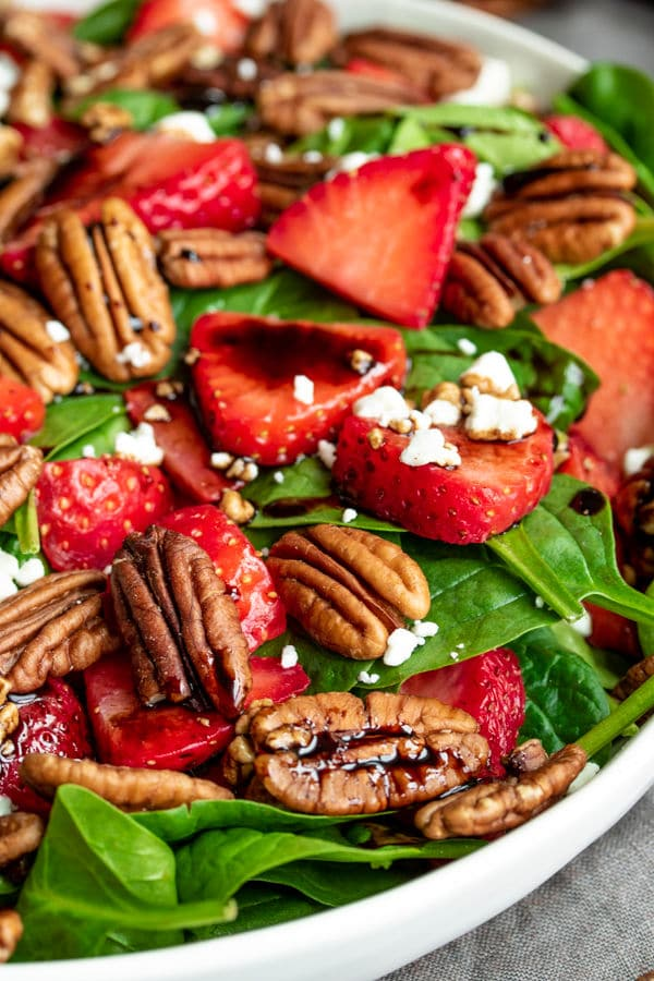 Strawberry & Spinach Salad with balsamic vinaigrette