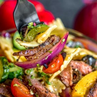 easy potluck Steak Fajita Pasta Salad
