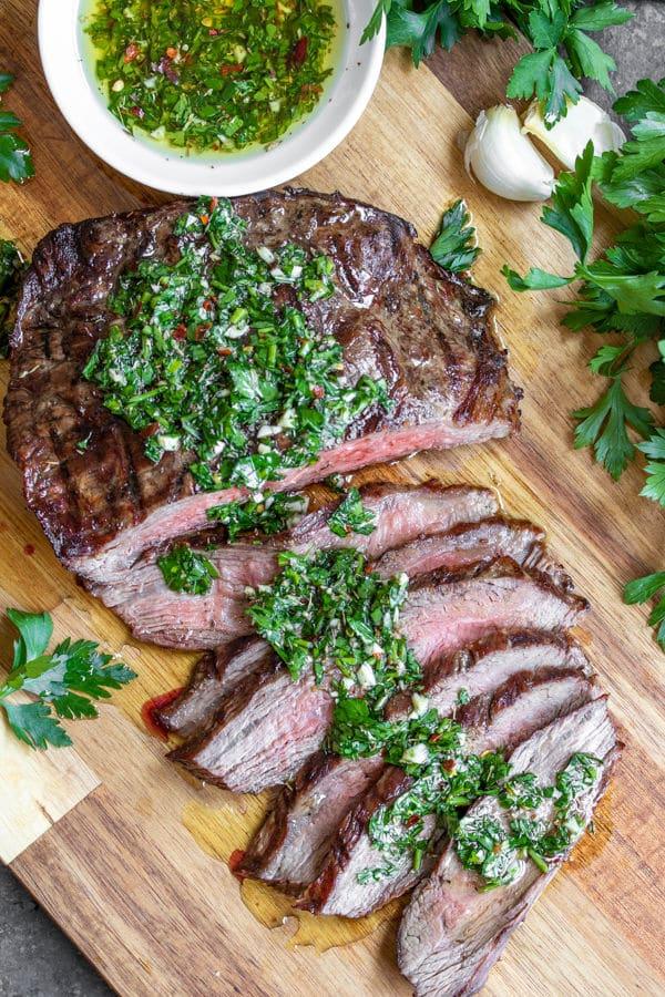 Chimichurri Steak cut into strips