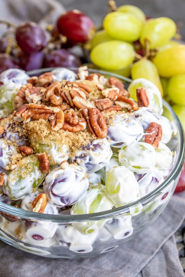 potluck Grape Salad topped with pecans