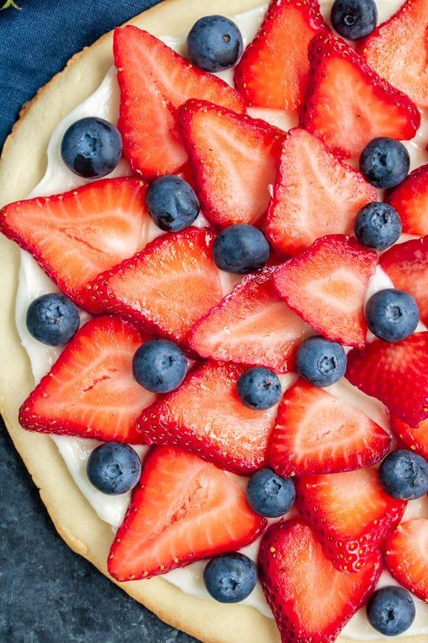 Perfect summer dessert Red, White & Blue Fruit Pizza
