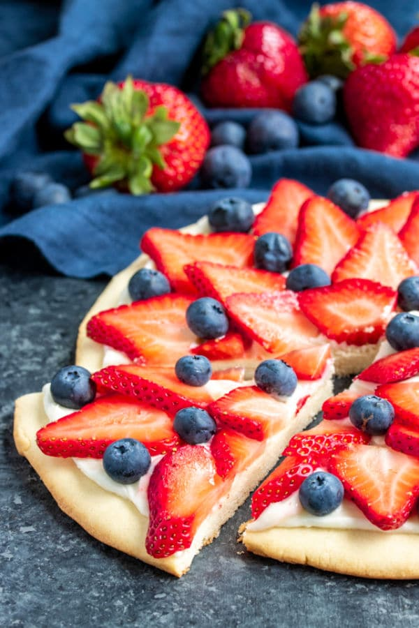 Red, White & Blue Fruit Pizza great for picnics