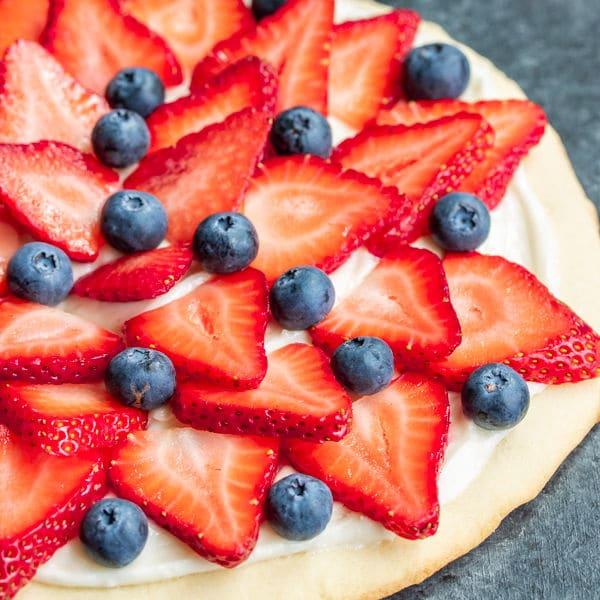 Red, White & Blue Fruit Pizza July 4th dessert