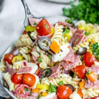 Italian Pasta Salad on a fork