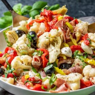 Keto Antipasto Salad made with cauliflower instead of pasta
