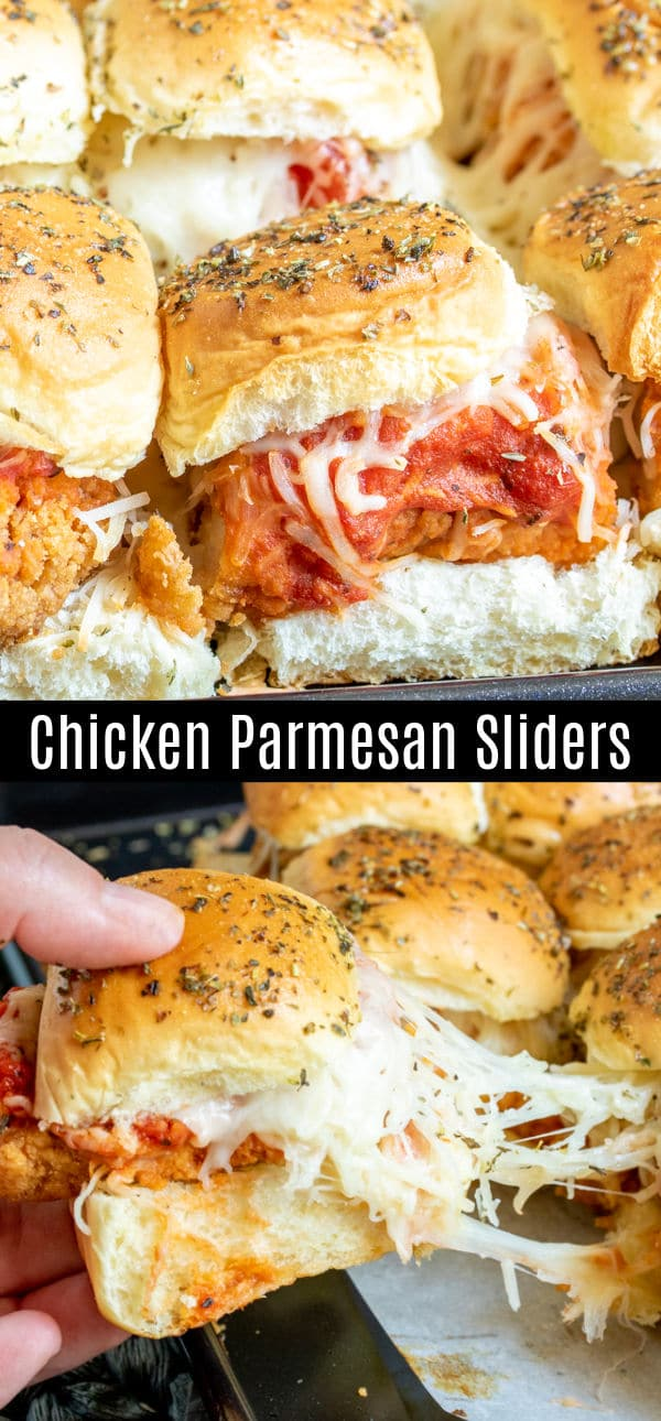 These Chicken Parmesan sliders are an easy baked slider recipe that is perfect Super Bowl Party food, March Madness party food, or just a family dinner that everyone is going to love. Chicken tenders, tomato sauce, and lots of mozzarella cheese on a slider roll make this chicken sandwich the perfect football party food. #gamedayfood #gameday #chicken #sliders #homemadeinterest #appetizer #partyfood
