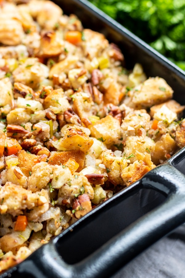platter of Thanksgiving stuffing Apple Pecan Stuffing