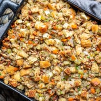 Apple Pecan Stuffing is an easy Thanksgiving stuffing recipe
