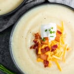 keto Instant Pot Loaded Cauliflower Soup made in minutes