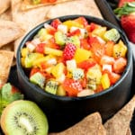 bowl of Fruit Salsa with Cinnamon Chips