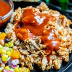 Pressure Cooker Pulled Pork with sauce on top