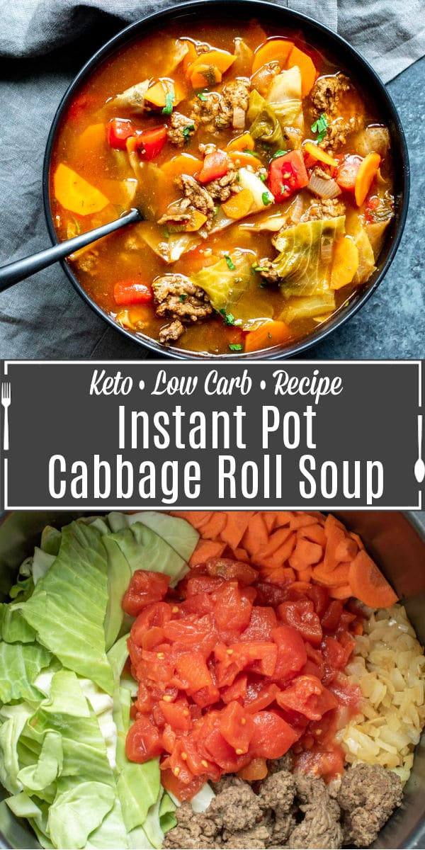 Pinterest image for Instant Pot Cabbage Roll Soup with title text